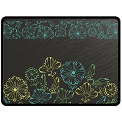 Elegant Floral Flower Rose Sunflower Double Sided Fleece Blanket (Large)