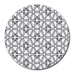 Flower Black Triangle Round Mousepads