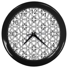 Flower Black Triangle Wall Clocks (Black)