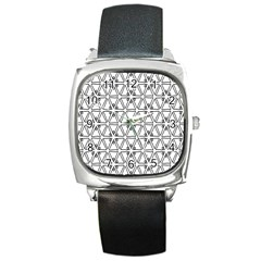 Flower Black Triangle Square Metal Watch