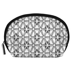 Flower Black Triangle Accessory Pouches (Large)