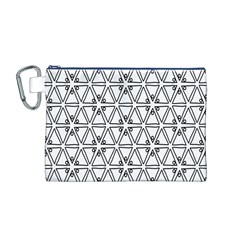 Flower Black Triangle Canvas Cosmetic Bag (M)