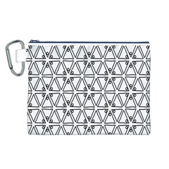 Flower Black Triangle Canvas Cosmetic Bag (L)