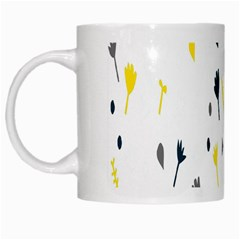 Flower Floral Yellow Blue Leaf White Mugs