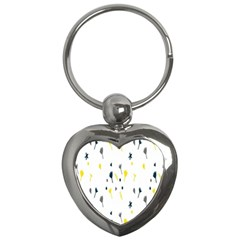 Flower Floral Yellow Blue Leaf Key Chains (Heart)