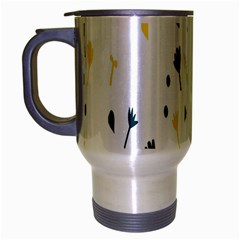 Flower Floral Yellow Blue Leaf Travel Mug (Silver Gray)