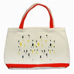 Flower Floral Yellow Blue Leaf Classic Tote Bag (Red)