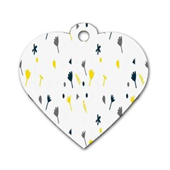 Flower Floral Yellow Blue Leaf Dog Tag Heart (One Side)