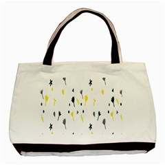 Flower Floral Yellow Blue Leaf Basic Tote Bag (Two Sides)