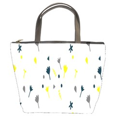 Flower Floral Yellow Blue Leaf Bucket Bags