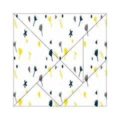 Flower Floral Yellow Blue Leaf Acrylic Tangram Puzzle (6  x 6 )