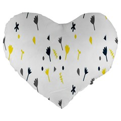 Flower Floral Yellow Blue Leaf Large 19  Premium Heart Shape Cushions