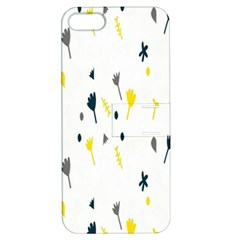 Flower Floral Yellow Blue Leaf Apple iPhone 5 Hardshell Case with Stand