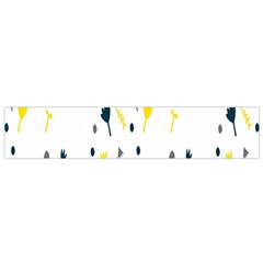 Flower Floral Yellow Blue Leaf Flano Scarf (Small)
