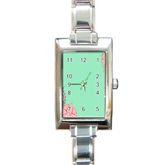 Flower Floral Green Rectangle Italian Charm Watch