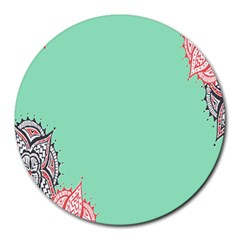 Flower Floral Green Round Mousepads