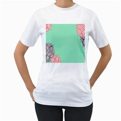 Flower Floral Green Women s T-Shirt (White) (Two Sided)