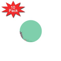 Flower Floral Green 1  Mini Buttons (10 pack)