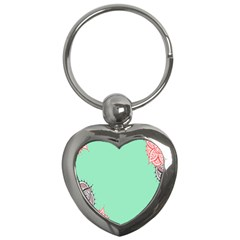 Flower Floral Green Key Chains (Heart)