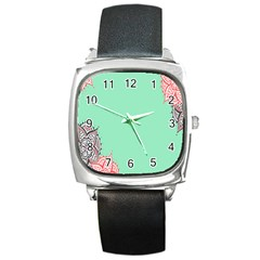 Flower Floral Green Square Metal Watch