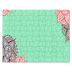 Flower Floral Green Rectangular Jigsaw Puzzl