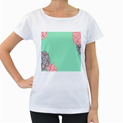 Flower Floral Green Women s Loose-Fit T-Shirt (White)
