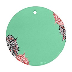 Flower Floral Green Round Ornament (Two Sides)
