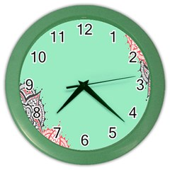 Flower Floral Green Color Wall Clocks
