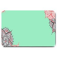 Flower Floral Green Large Doormat