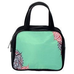 Flower Floral Green Classic Handbags (One Side)