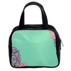 Flower Floral Green Classic Handbags (2 Sides)