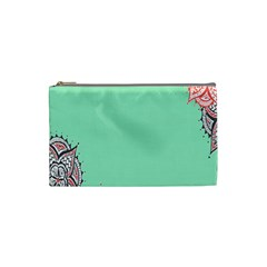 Flower Floral Green Cosmetic Bag (Small)