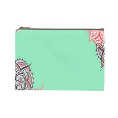 Flower Floral Green Cosmetic Bag (Large)