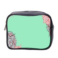 Flower Floral Green Mini Toiletries Bag 2-Side