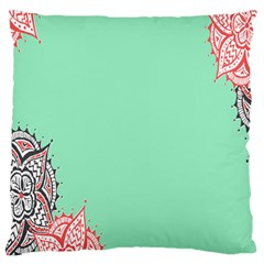 Flower Floral Green Large Cushion Case (One Side)