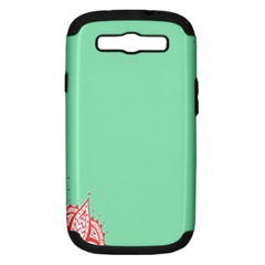 Flower Floral Green Samsung Galaxy S III Hardshell Case (PC+Silicone)