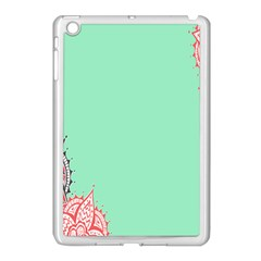 Flower Floral Green Apple iPad Mini Case (White)