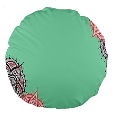 Flower Floral Green Large 18  Premium Round Cushions