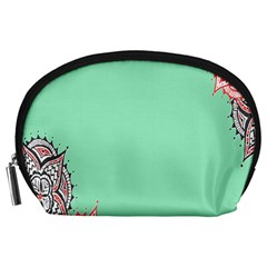 Flower Floral Green Accessory Pouches (Large)