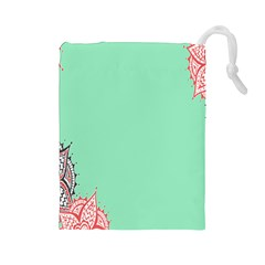 Flower Floral Green Drawstring Pouches (Large)