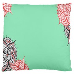 Flower Floral Green Large Flano Cushion Case (Two Sides)