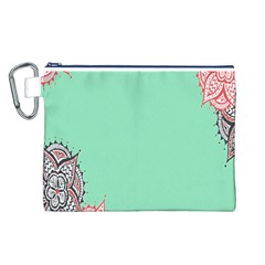 Flower Floral Green Canvas Cosmetic Bag (L)
