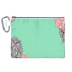 Flower Floral Green Canvas Cosmetic Bag (XL)