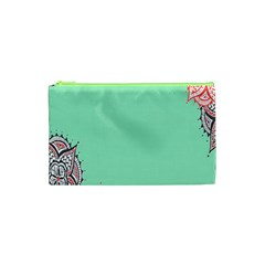Flower Floral Green Cosmetic Bag (XS)