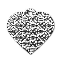 Flower Rose Black Triangle Dog Tag Heart (Two Sides)