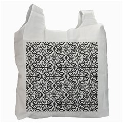 Flower Rose Black Triangle Recycle Bag (One Side)