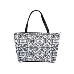 Flower Rose Black Triangle Shoulder Handbags