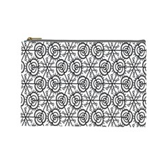 Flower Rose Black Triangle Cosmetic Bag (Large)