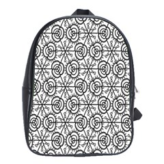Flower Rose Black Triangle School Bags(Large)