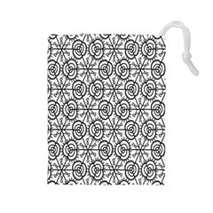 Flower Rose Black Triangle Drawstring Pouches (Large)